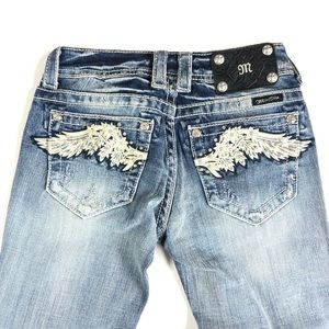 Miss Me Embellished Bootcut Jeans Size 25 Wings